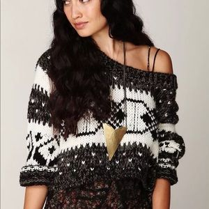 FREE PEOPLE Fair Isle chunky cropped sweater LG